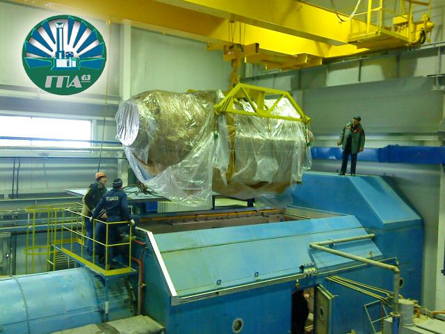 Установка двигателя в контейнер ГПА